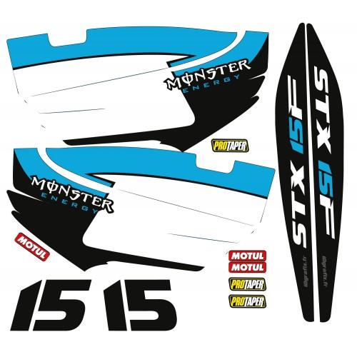 Kit décoration Partiel pour Kawasaki STX 15F Bleu-idgrafix