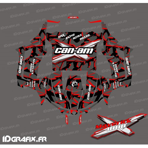 Kit décoration Broken series (Rouge) - Idgrafix - Can Am 1000 Maverick