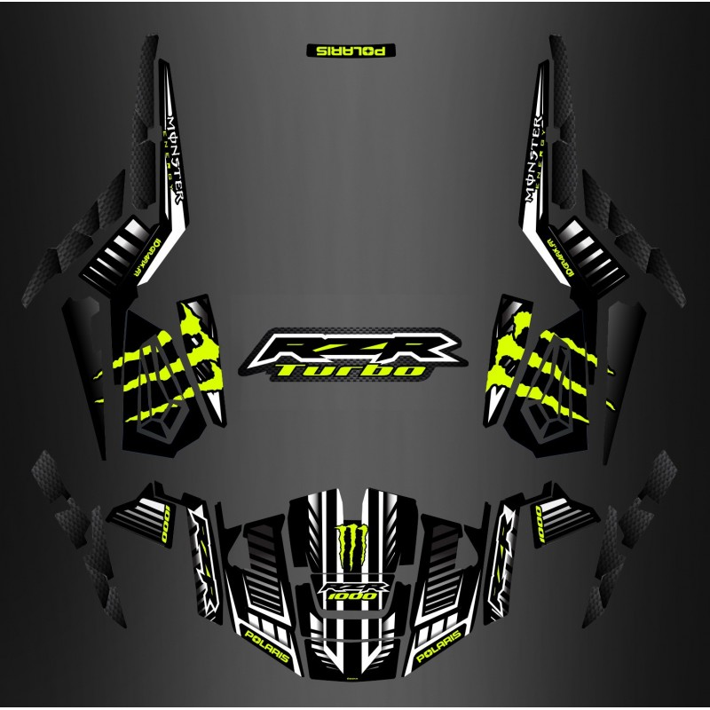 Kit décoration 100% Perso Monster Carbon - IDgrafix - Polaris RZR 1000 TURBO-idgrafix