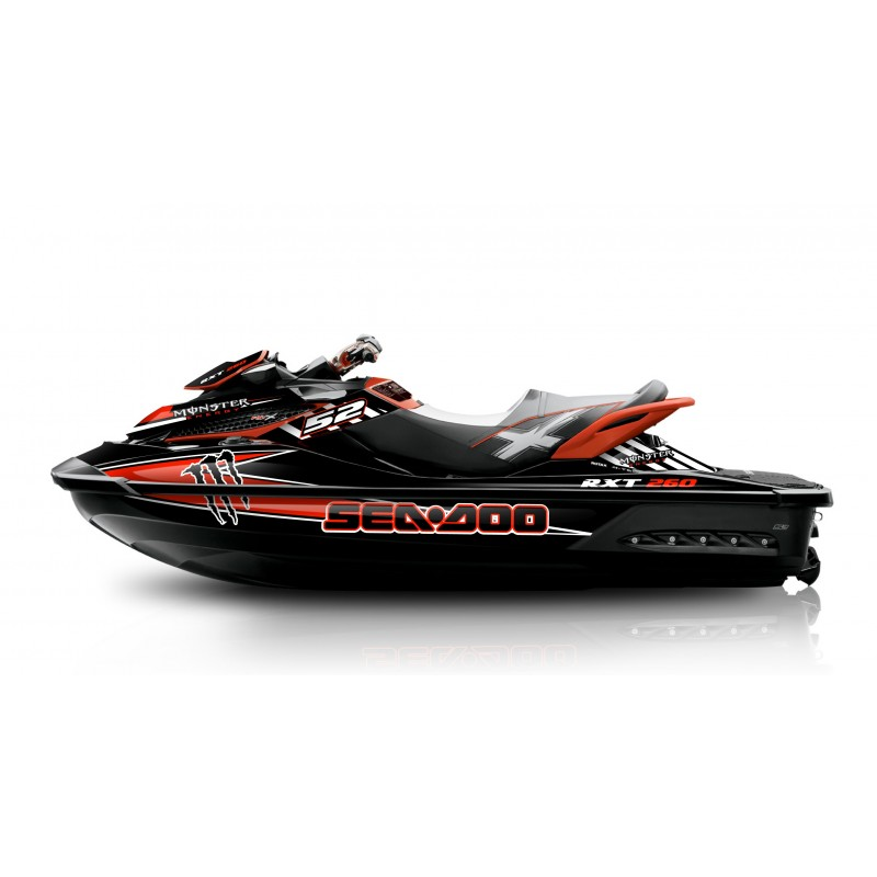 Kit décoration Monster Race Red pour Seadoo RXT 260 / 300 (coque S3)-idgrafix