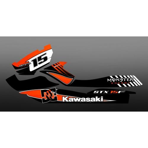 Kit decoration 100% Custom M Orange for Kawasaki STX 15F - IDgrafix
