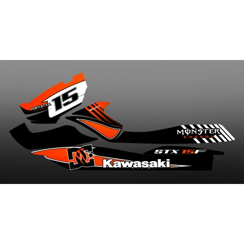 Kit decorazione 100% Personalizzato M Arancione Kawasaki STX 15F -idgrafix