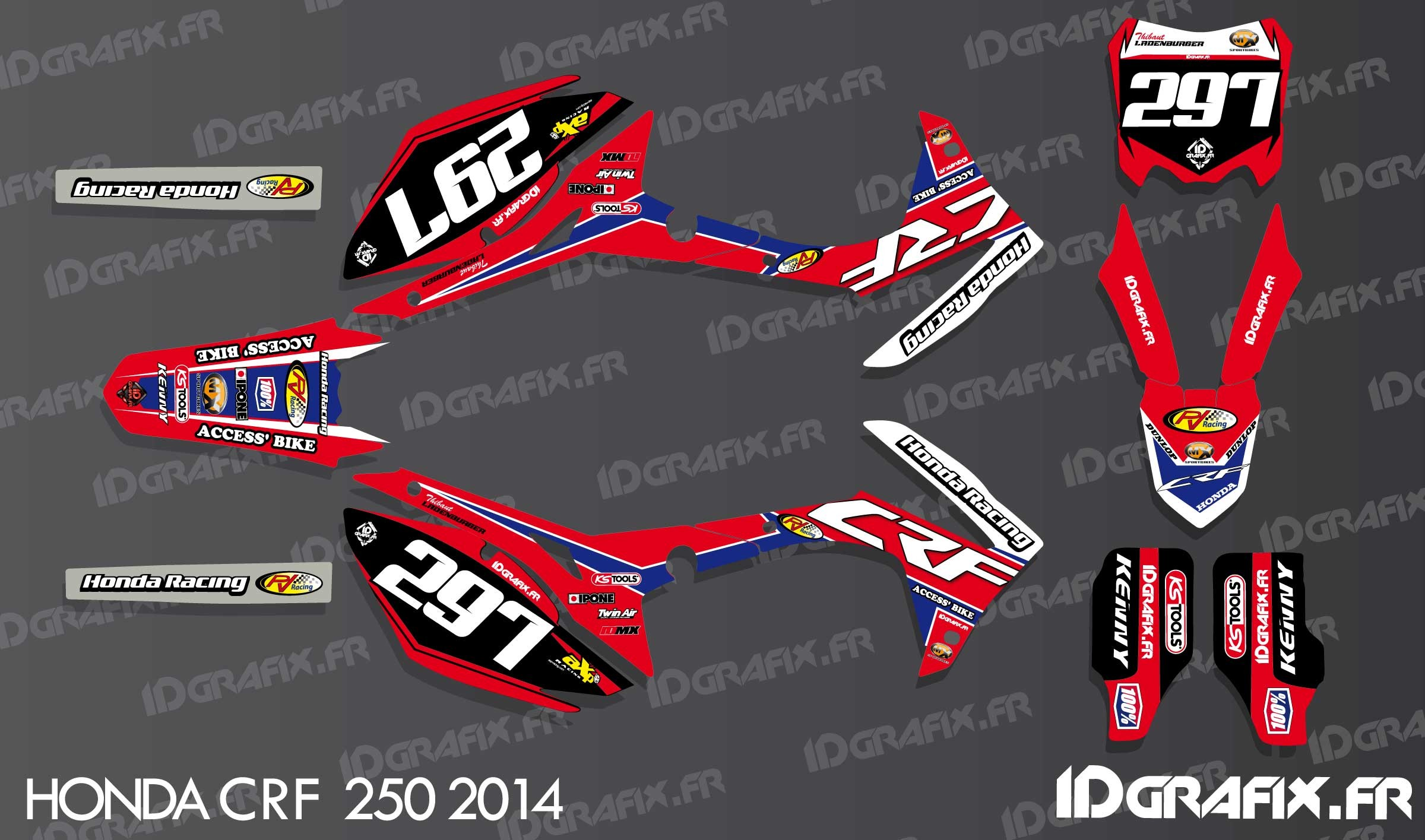 Polaris Sportsman 1000 >> Kit dekor CRF Replikat - Honda CR/CRF 125-250-450 - idgrafix