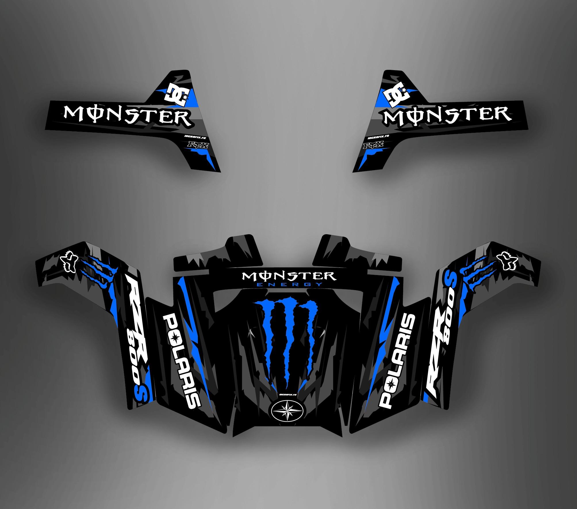 Polaris Trailblazer 250 >> Kit de décoration Monstruo Azul - IDgrafix - Polaris RZR ...